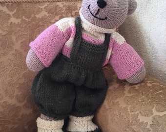 Knitted Toy Bear in Сlothes Adorable Toy Bear Favorite Toy