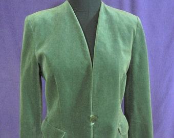 Vintage Velveteen Blazer from Giorgio Armani Diffusion Line Mani Moss Green Collarless Jacket Petite Size XS Feminine Office Wear