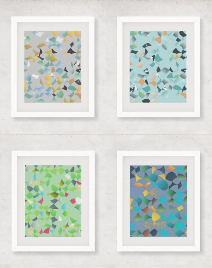 Set di 4 stampe arte da parete stampare di quattro stampe for Stampe da parete