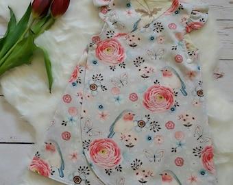 c023121eb Petal Wrap dress size 4, birds, cotton, children's clothing, Australian  handmade