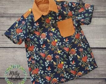 Boys australiana shirt, size 5, boys tops, boys shirt, Australian, handmade