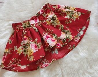 Girls red floral tulip skirt, size 3 skirt, red floral, cotton, handmade, Australian handmade