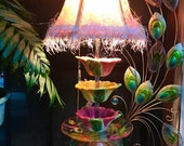 Vintage Tropical Prism Cup Lamp Hand dyed Matching Shade.Flower Cups,Prism,Colorful Base,Painted Glass Contact DausnGlo for exact shipping.