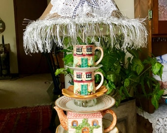 """Teapot Lamp. Decorated Shade/light bulb inc. 25"""" Tall. Contact Owner before Purchasing Please"""