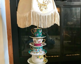 Teacup lamp.Harp Teacup Finale Vintage Shade, Glass Base Teacup lamp .Contact owner before purchasing please