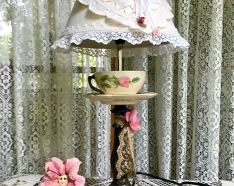 Teacup Lamp with Decorated Shade.Franciscan Desert rose Cup/Saucer Lamp. Contact owner before Purchasing Please.