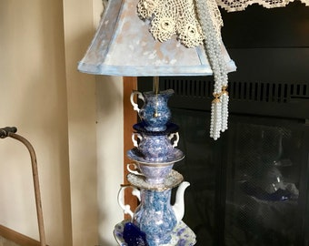 Teapot Lamp, Royal Albert China Lamp. Blue Glass Base.Contact Owner before Purchasing Please