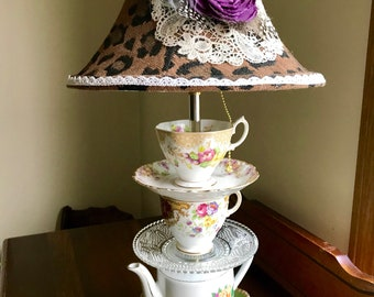 Teapot Lamp.Shade,light bulb inc. Contact Owner before Purchasing Please
