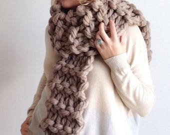 Super Chunky Knit Scarf, Super Chunky Scarf, Chunky Scarf, Super Bulky Scarf, Chunky Wool Scarf, Beige Scarf, Super Chunky Beige Scarf