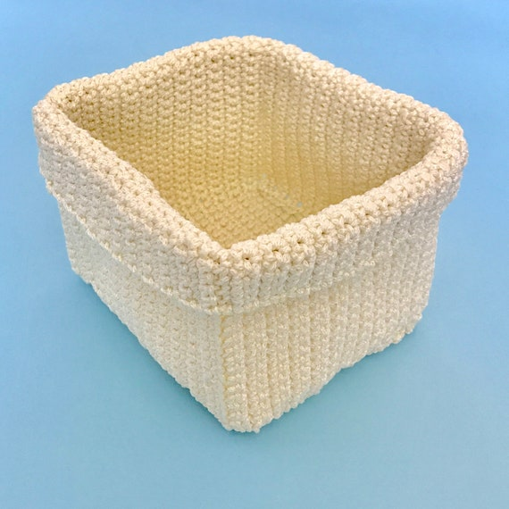 Square Crochet Basket Pattern Crochet Storage Diy Basket Etsy