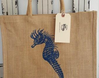 Navy Blue Seahorse Jute Market bag