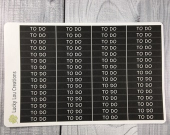 TO DO White Text on BLACK Header Planner Stickers (60)