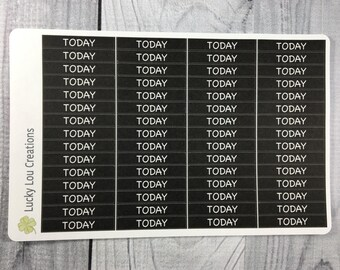 TODAY White Text on BLACK Header Planner Stickers (60)