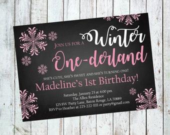 Winter Onederland Party Invitation