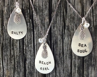 Sea Soul, Salty, Beach Girl, Sterling Silver Teardrop Necklace, Beach Jewelry, Ocean Jewelry