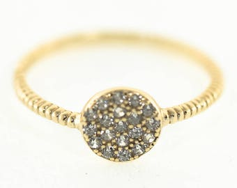 Pavé Disc Ring, Sterling Silver, 14k Gold Vermeil, Sparkly Rings, Stackable Rings