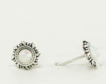 Round Opal Post Earrings, Sterling Silver Post Earrings, White Opal Post Earrings