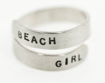 Sterling Silver Stamped Wrap Ring, Beach Girl, Vitamin Sea, Mermaid Love, Beach Jewelry, Ocean Jewelry