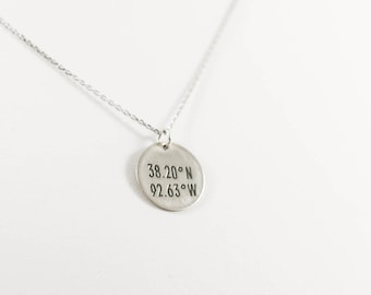 GPS Coordinates Disc Necklace, Sterling Silver, 14k Gold Fill, Latitude Longitude Necklace, Locations Jewelry