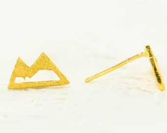 Mountain Post Earring, Sterling Silver Mountain Earring, Gold Mountain Earring, Mountain Jewelry, Mountain Girl