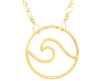 Wave Disc Necklace, Sterling Silver, 14k Gold Fill, Vermeil, Ocean Jewelry, Beach Jewelry