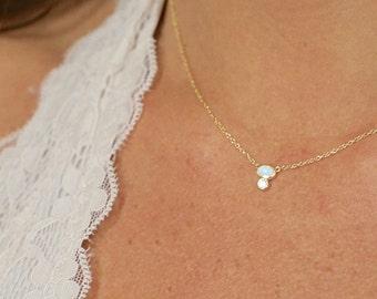Oval Opal/CZ Necklace, Vermeil, Opal Necklace, Layering Necklace, Dainty Necklace