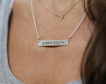 GPS Coordinates Bar Necklace, Sterling Silver, 14kt Gold Fill, Latitude Longitude Necklace