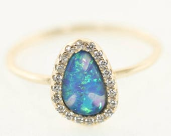 Oval Pavé Opal Ring, Vermeil, Man Made Opal, Mother of Pearl, Sparkly Rings
