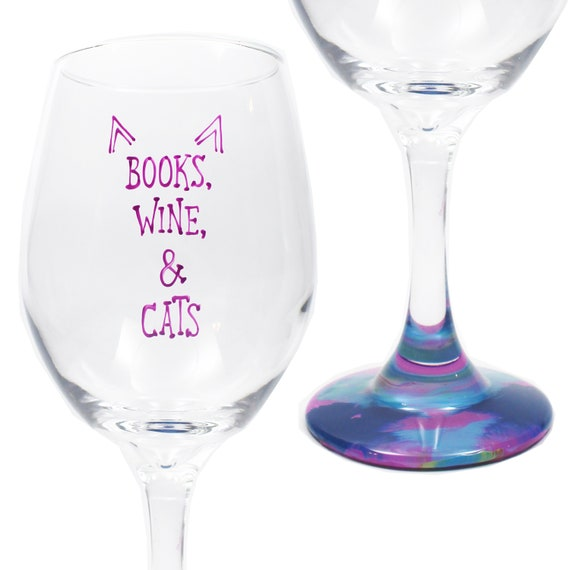 Cat Wine Glasses 20oz Hand Painted Wine Glass For Cat Lovers Etsy