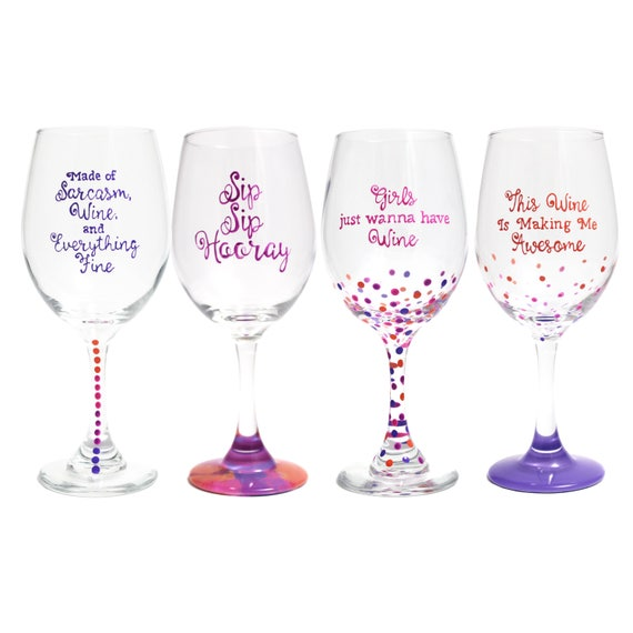 de492e53c6b Wine Glass Set Gift For Her Funny Party Favors Custom Wine | Etsy