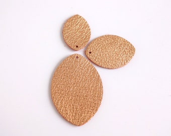 Medium or Small 2 oz Latigo Leather Teardrop Shapes with hole for Ring already for installation  6 Pair Large