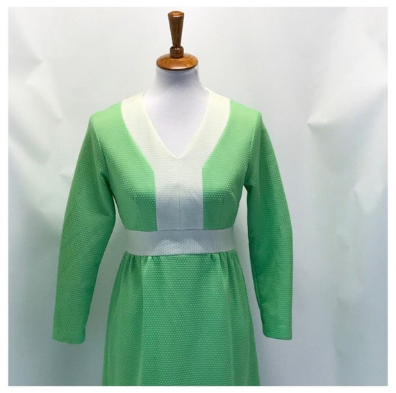 Vintage 1960's long sleeve maxi dress- size 8 - image 3