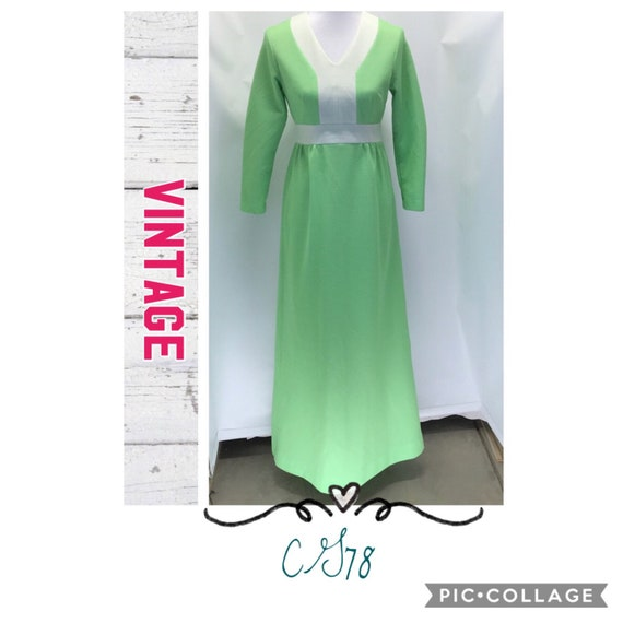 Vintage 1960's long sleeve maxi dress- size 8