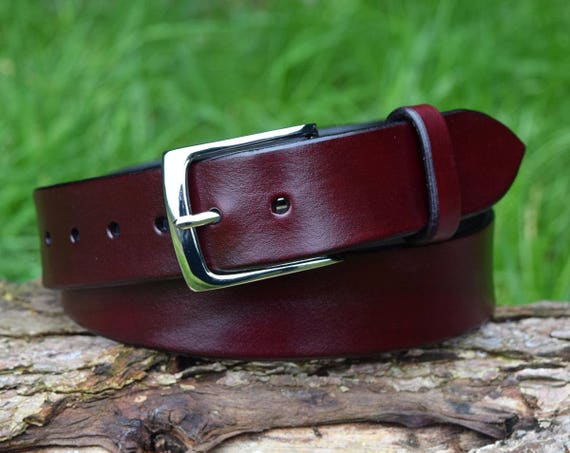 Christopher Piero Handmade Full Grain Oxblood Leather Belt fitted with Solid BrassNickel Plated Buckle
