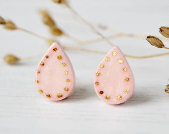 Porcelain stud earrings Ceramic drop earrings Minimalist jewellery Everyday jewelry Gift for girlfriend For her birthday Anniversary gift