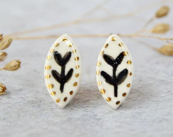 Nature earrings Twig porcelain earrings Woodland jewelry Minimal jewellery Nature lover gift Little luxuries Anniversary gift