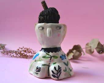 Tropical lady ceramic vase SALE -20% Quirky sculpture Face planter Illustrated vase Handmade pottery Gift for artists