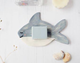 Shark soap dish !on SALE! Porcelain jewelry tray Ceramic ring dish Bathroom decor Pottery trinket dish Decorative tray New home gift