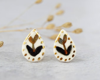 Gold tulip stud earrings Porcelain drop earrings Anniversary gift Romantic jewelry Ceramic jewellery Valentine gift Rustic wedding