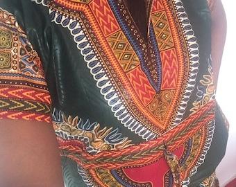 Kleid, mittellang Dashiki Ebenen Knie
