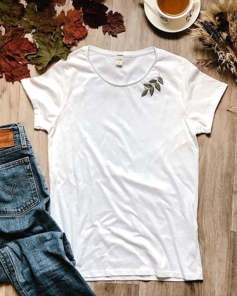 T-shirt en coton brod\u00e9 \u00e0 la main femme motif feuille