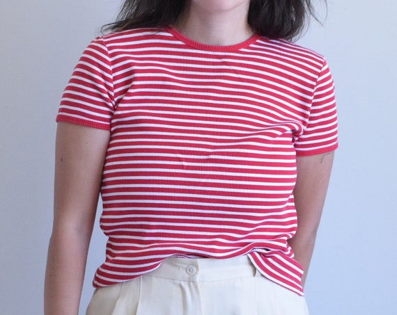 Red & White Striped Tee