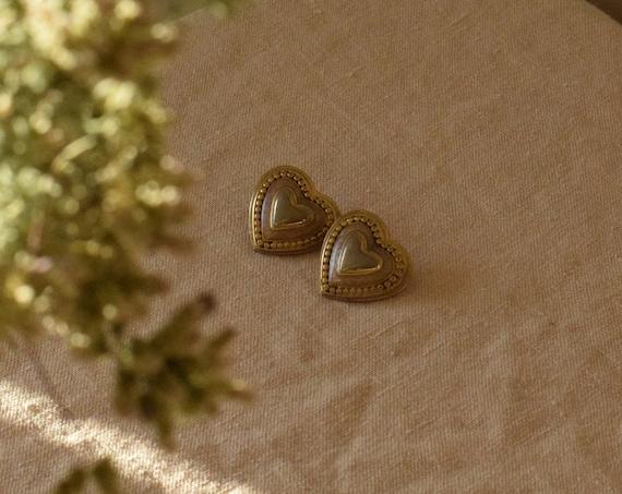 Brass Heart Studs
