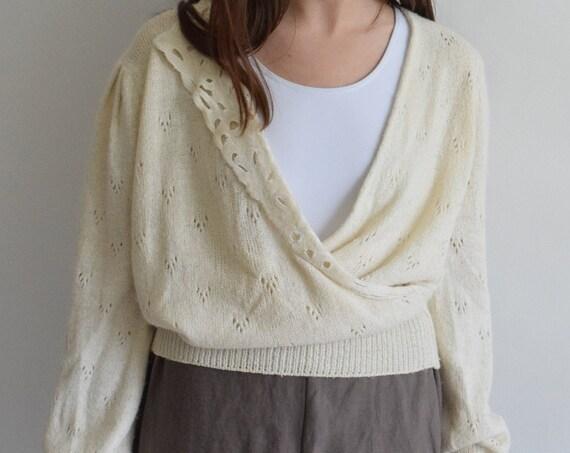 Cream Silk & Angora Knit Wrap Top
