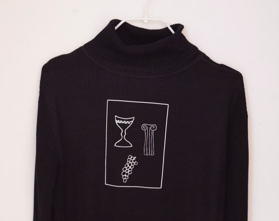 Roman Chalice Black Long Sleeve Silk Knit