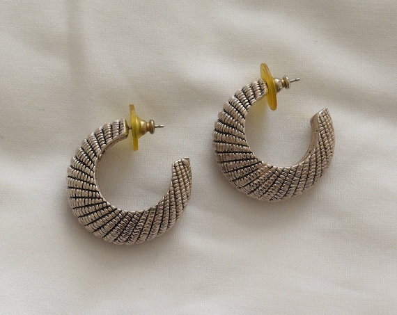 Armadillo Silver Crescent Hoops