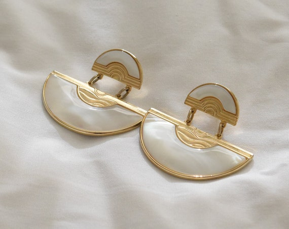 Marble Resin & Brass Half Moon Earrings