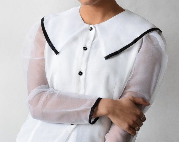 White Organza Sleeved Blouse