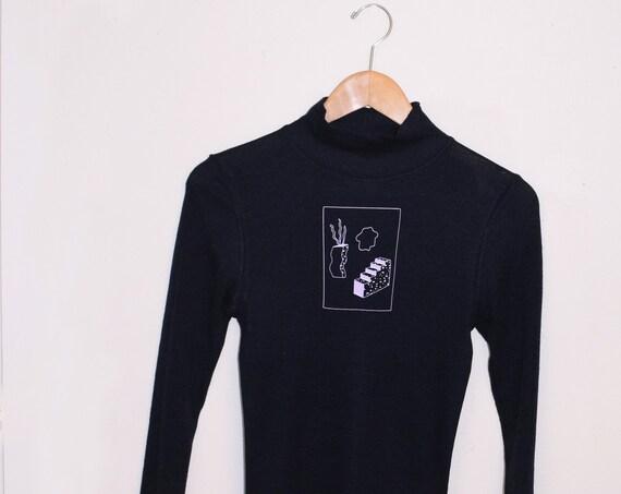 Kida Navy Wool Mock Neck Knit