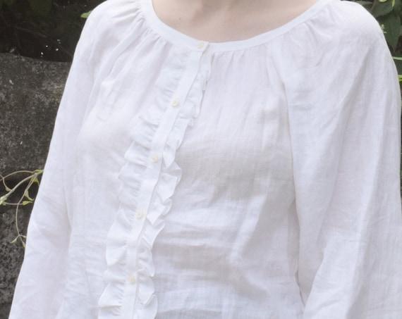 Vintage Ralph Lauren White Linen Blouse.